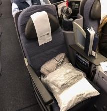 A superbly padded arm chair for a longhaul flight